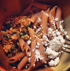Lauren's Pesto Tofu Kale Pasta