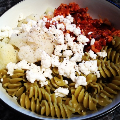 My Meat & Vegetable Sauce Veggie Pasta w/ Cauliflower & Feta