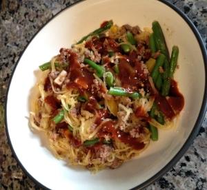 """spaghetti squash sriracha """"noodle"""" bowl"""