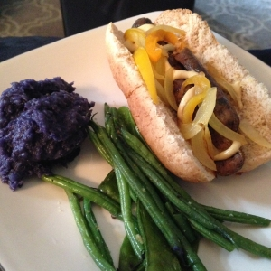 organic mushroom sage chicken sausage with green beans and superfood puple potatoes.